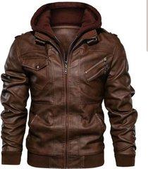 chaqueta de cuero café kingo
