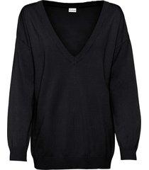 maglione oversize con scollo a v (nero) - bodyflirt