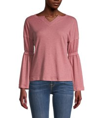 baea women's flare sleeve thermal top - blush - size xs