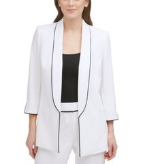 dkny piped shawl-collar open-front blazer