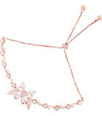 cubic zirconia butterfly adjustable bolo bracelet in 14k rose gold over sterling silver