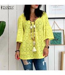 zanzea mujer ata cuello en v manga 3/4 ahueca hacia fuera las tapas flojas ocasionales camisas blusas -amarillo