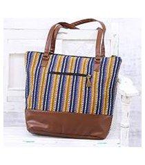 cotton shoulder bag, 'stylish stripes' (india)