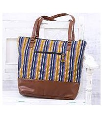 cotton shoulder bag, 'stylish stripes' (india)