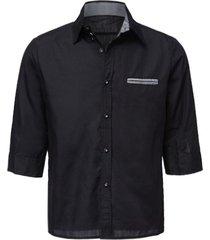 fashion hit color splicing pocket design shirt collar half sleeve slimming men's cotton shirt