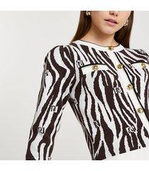 river island womens brown ri zebra print fitted cardigan