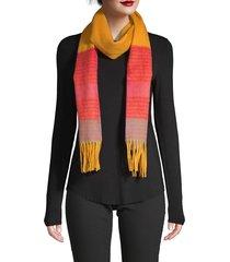 la fiorentina women's wool striped fringe scarf - yellow