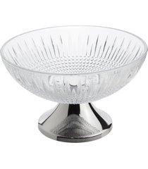 centro de mesa cristal com pé aço inox queen 30cm