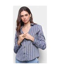 camisa lily fashion manga longa decote v listrada feminina