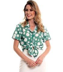 camisa bisô poá feminina