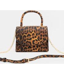 women's makensie leopard top handle mini handbag in leopard by francesca's - size: one size