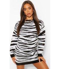 zebraprint jacquard trui jurk met ronde hals, zwart