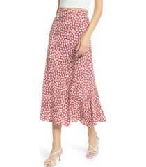 women's reformation bea midi skirt, size 4 - red