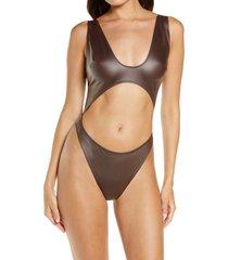 women's skims wet jersey cutout bodysuit, size x-large - brown