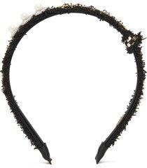 crystal pearl embellished tweed headband