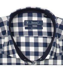 sleeve7 heren overhemd navy witte ruit streep heavy twill modern fit