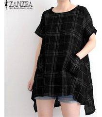 manga del cortocircuito del verano zanzea camiseta básica-negro