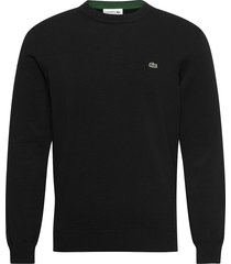 mens sweater stickad tröja m. rund krage svart lacoste