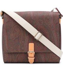 etro paisley buckle-fastening shoulder bag - brown