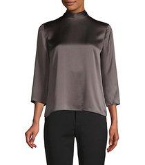 mockneck silk blouse