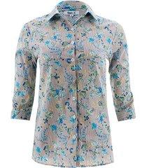 camisa estampada flores color beige, talla 6