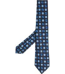 kiton floral print tie - blue