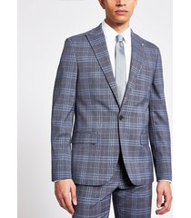 river island mens blue check single breasted skinny suit jacket