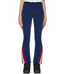 chevron outseam zipper leg flared pants