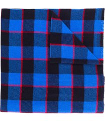 acne studios checked winter scarf - blue
