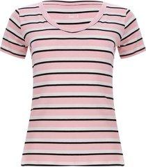 camiseta mujer franja 3 colores color rosado, talla m