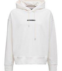 jil sander white cotton hoodie with logo