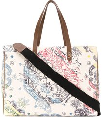 golden goose bandana canvas tote bag - neutrals