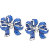 holiday lane silver-tone pave blue bow stud earrings, created for macy's