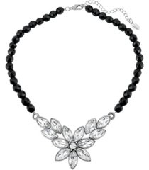 "2028 silver-tone diamond shaped crystal flower black beaded 15"" adjustable necklace"