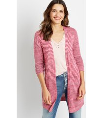maurices womens striped washed yarn cardigan purple