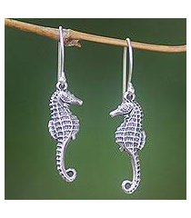 sterling silver dangle earrings, 'sea horse couple' (indonesia)
