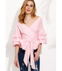 v neck off shoulder ruffle pleated bell sleeve bow tie waist surplice blouse