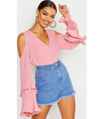 cold shoulder flute sleeve blouse, dusky pink