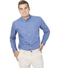 camisa wooster popelina estampado anclas - navy