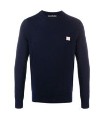 acne studios suéter decote careca - azul