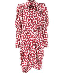 isabel marant red and white silk dress
