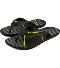 sandalia flip flop negro-amarillo colore