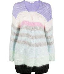 dorothee schumacher chunky-knit striped cardigan - blue