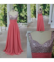high quality watermelon straps beads chiffon prom/party/evening /formal dress