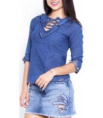 blusa jeans feminina sol jeans manga 3x4 moda 628