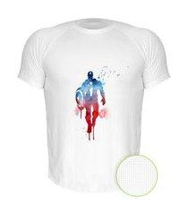 camiseta air nerderia e lojaria capitao america paint branca