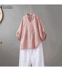 zanzea mujeres largo caramelo ocasional de la manga v de algodón de cuello señoras de la blusa tops camisa -rosado