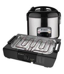 kit churrasco cadence - churrasqueira elétrica e panela de arroz - 127v