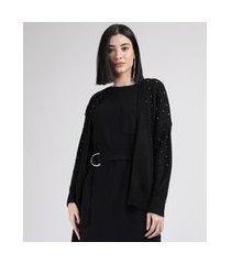 cardigan de tricô feminino com aviamento metalizado preto