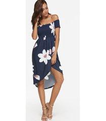 midi con estampado floral aleatorio azul marino vestido